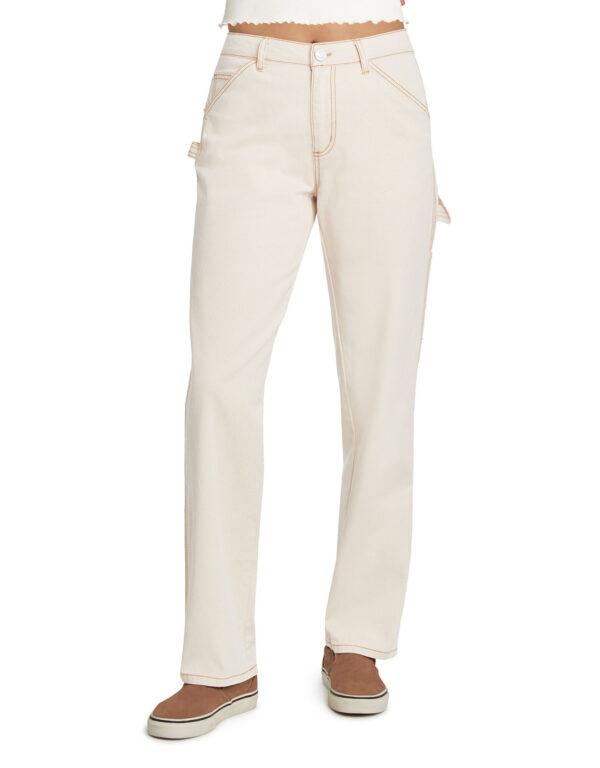 Dickies Girl Juniors' Relaxed Fit Carpenter Pants, Natural Beige