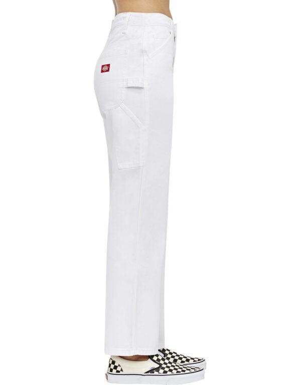 Dickies Girl Juniors' Relaxed Fit Carpenter Pants, White