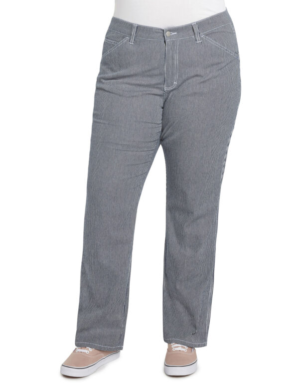 Dickies Girl Juniors' Plus Hickory Striped Carpenter Pants, Blue White Hickory Stripe