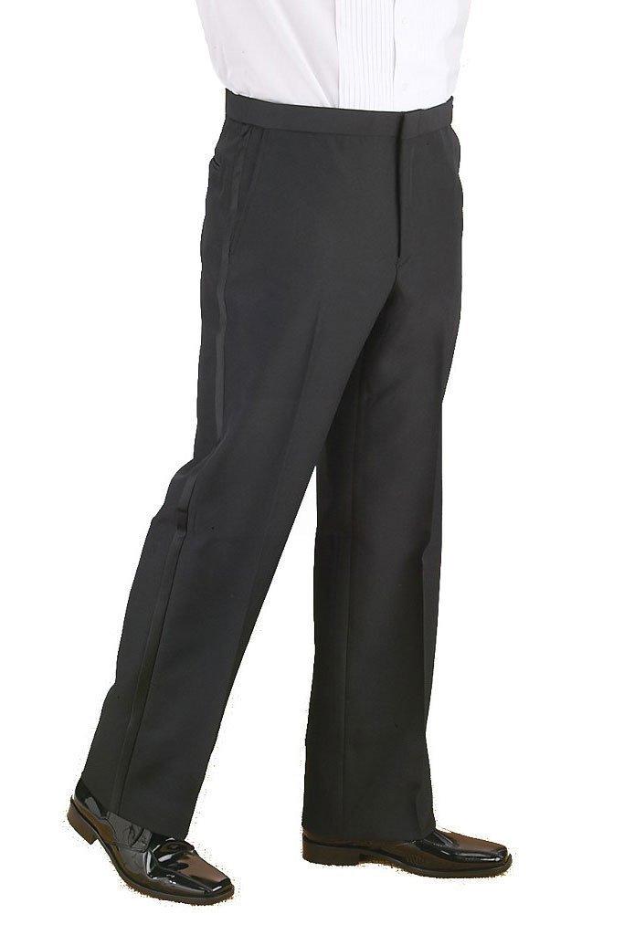"""Michael"" Black Polyester Plain Front Tuxedo Pants Style 3037P Mens"